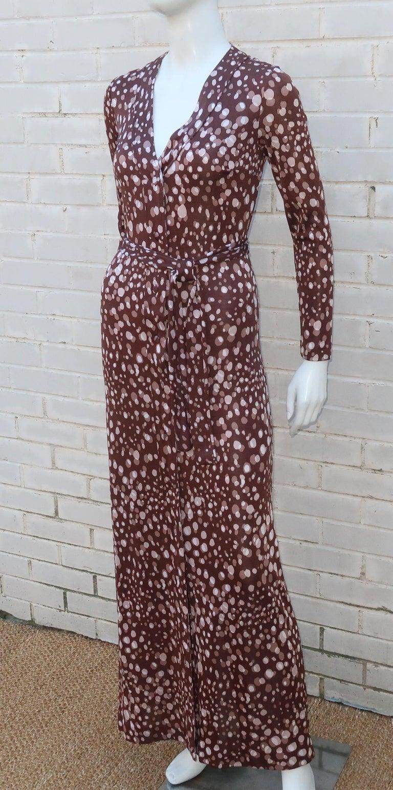 Diane Von Furstenberg Brown Polka Dot Print Maxi Dress With Scarf, 1970's For Sale 4