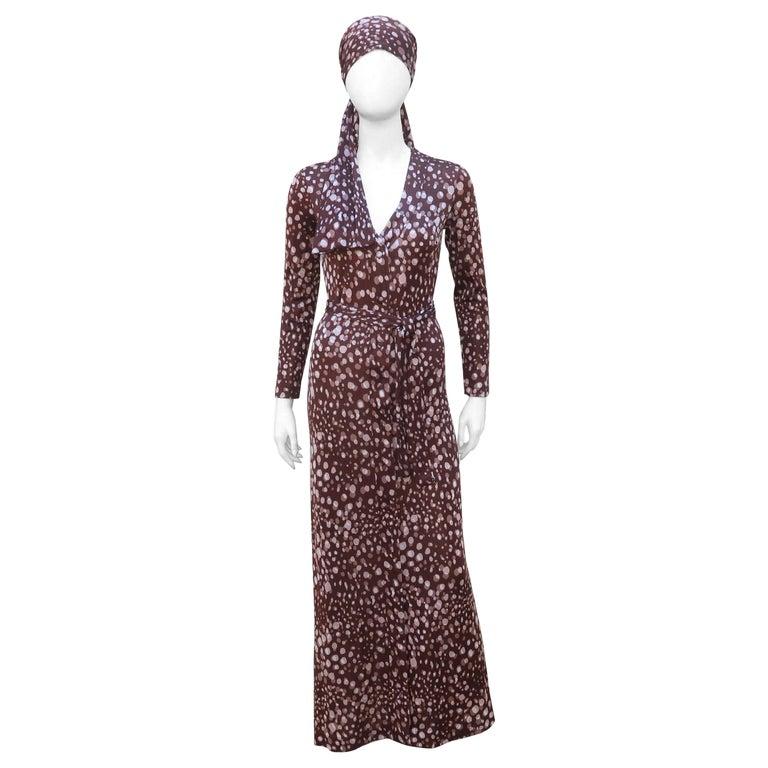 Diane Von Furstenberg Brown Polka Dot Print Maxi Dress With Scarf, 1970's For Sale