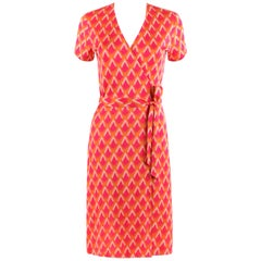 DIANE VON FURSTENBERG c.1970's DVF Abstract Print Silk Jersey Iconic Wrap Dress