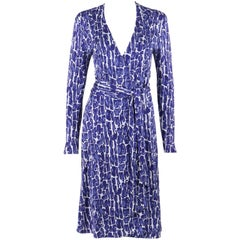DIANE von FURSTENBERG c.1990's Silk Jersey Abstract Print Blue White Wrap Dress