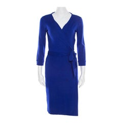 Diane von Furstenberg Cobalt Blue Jersey New Julian Wrap Dress M