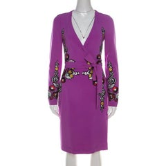 Diane von Furstenberg Crepe Floral Applique Violette Soft Iris Wrap Dress XS