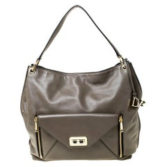 Diane Von Furstenberg Dark Khaki Leather Shoulder Bag