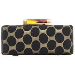 DIANE VON FURSTENBERG DVF Tonda gold black polka dot twill chained box clutch
