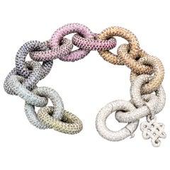 Diane Von Furstenberg H. Stern Diamond Colored Stone 18k Gold Sutra Bracelet