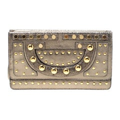 Diane Von Furstenberg Metallic Studded Leather Hayworth Clutch