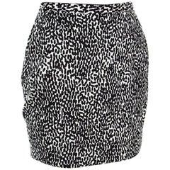 Diane Von Furstenberg Monochrome Printed Cotton Clyde Mini Skirt S