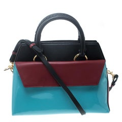 Diane Von Furstenberg Multicolor Leather Small Front Flap Satchel