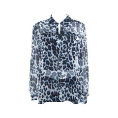 Diane Von Furstenberg Multicolor Snow Cheetah Printed Silk Lorelei Blouse M