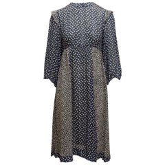 Diane Von Furstenberg Navy & Multicolor 80s Prairie Dress