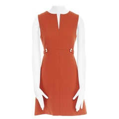 DIANE VON FURSTENBERG orange cotton blend silver tab waist A-line dress US4 S
