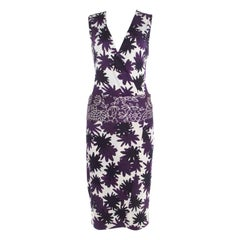 Diane Von Furstenberg Purple Asterisk Meadow Printed Silk Jersey Sirena Dress M