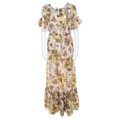 Diane Von Furstenberg Raisin Floral Print Lurex Insert Ruffled Jane Maxi Dress S