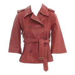 DIANE VON FURSTENBERG red leather 3/4 flared sleeves belted jacket US0 XS