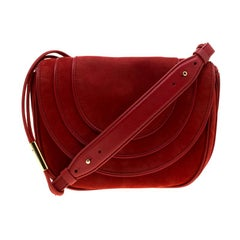Diane Von Furstenberg Red Nubuck Leather Bullseye Crossbody Bag