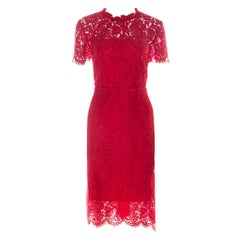 Diane von Furstenberg Scandal Red Cut Out Back Alma Lace Dress L
