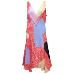 Diane Von Furstenberg Silk Chiffon Patchwork Handkerchief Dress