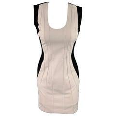 DIANE VON FURSTENBERG Size 2 Cream & Black Pleated Polyamide Sheath Dress