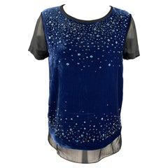 DIANE VON FURSTENBERG Size 6 Black & Blue Rhinestone Rayon / Silk Layered Blouse