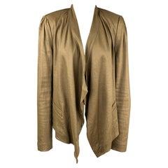 DIANE VON FURSTENBERG Size 8 Olive Linen Blend Open Front Jacket