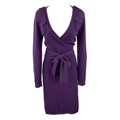 DIANE VON FURSTENBERG Size S Purple Knitted Wool Blend Wrap Dress