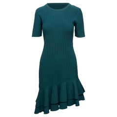 Diane Von Furstenberg Teal Rib Knit Asymmetrical Dress