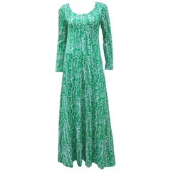 Diane Von Furstenberg Tropical Green & White Maxi Dress, 1970's