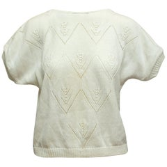 Diane Von Furstenberg White Short Sleeve Sweater