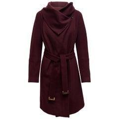 Diane Von Furstenberg Wine Wool & Cashmere Belted Coat