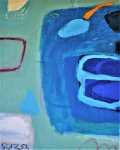 Diane Whalley, The Pear by the Pool, Affordable Art, Original Abstract Painting
