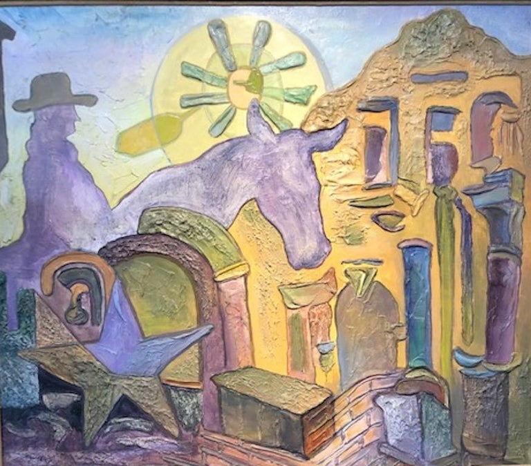 """American Artist, was born in California. The portrayal of the state Texas is depicted in surrealist style on this 38"""" x 44"""", overall size is 44"""" x 50.5"""", oil on masonite. """"Texas History"""" The featured Texas icons are: The Alamo, The single star or"""