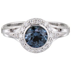 Dianna Rae Jewelry 14 Karat Gold 1.15 Carat Montana Sapphire Diamond Halo Ring