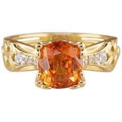 Dianna Rae Jewelry 3.16 ct. Oval Orange Sapphire Ring in 18k Diamond Accent