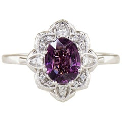 Dianna Rae Jewelry Floral 1.31 ct. Oval Grape Garnet Fashion Ring 14k