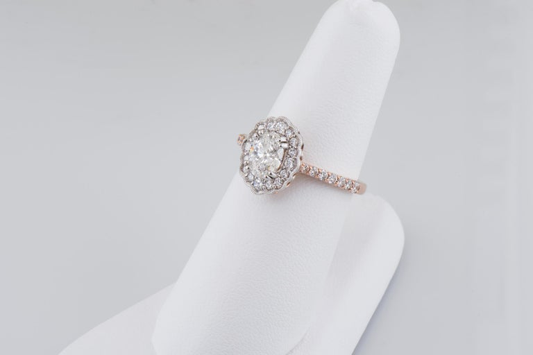 Oval Cut Dianna Rae Jewelry Rose Gold Oval Diamond Engagement Ring with Diamond Band For Sale