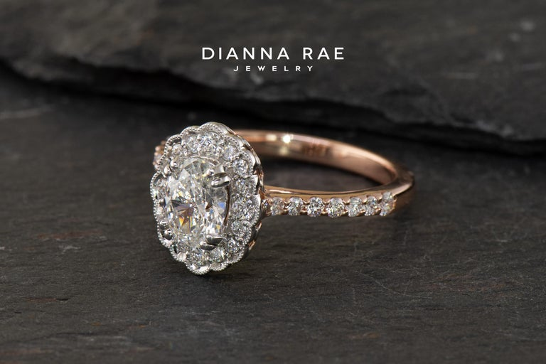 Dianna Rae Jewelry Rose Gold Oval Diamond Engagement Ring with Diamond Band In New Condition For Sale In Lafayette, LA