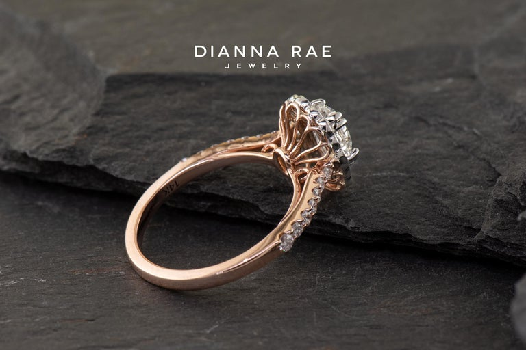 Women's or Men's Dianna Rae Jewelry Rose Gold Oval Diamond Engagement Ring with Diamond Band For Sale