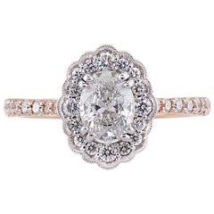 Dianna Rae Jewelry Rose Gold Oval Diamond Engagement Ring with Diamond Band