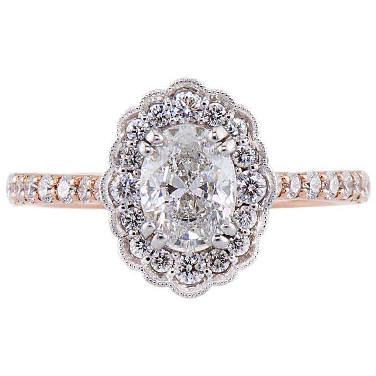 Dianna Rae Jewelry Rose Gold Oval Diamond Engagement Ring with Diamond Band For Sale