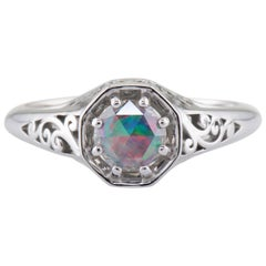 Dianna Rae Jewelry White Gold Rose Cut Diamond and Opal Engagement Ring