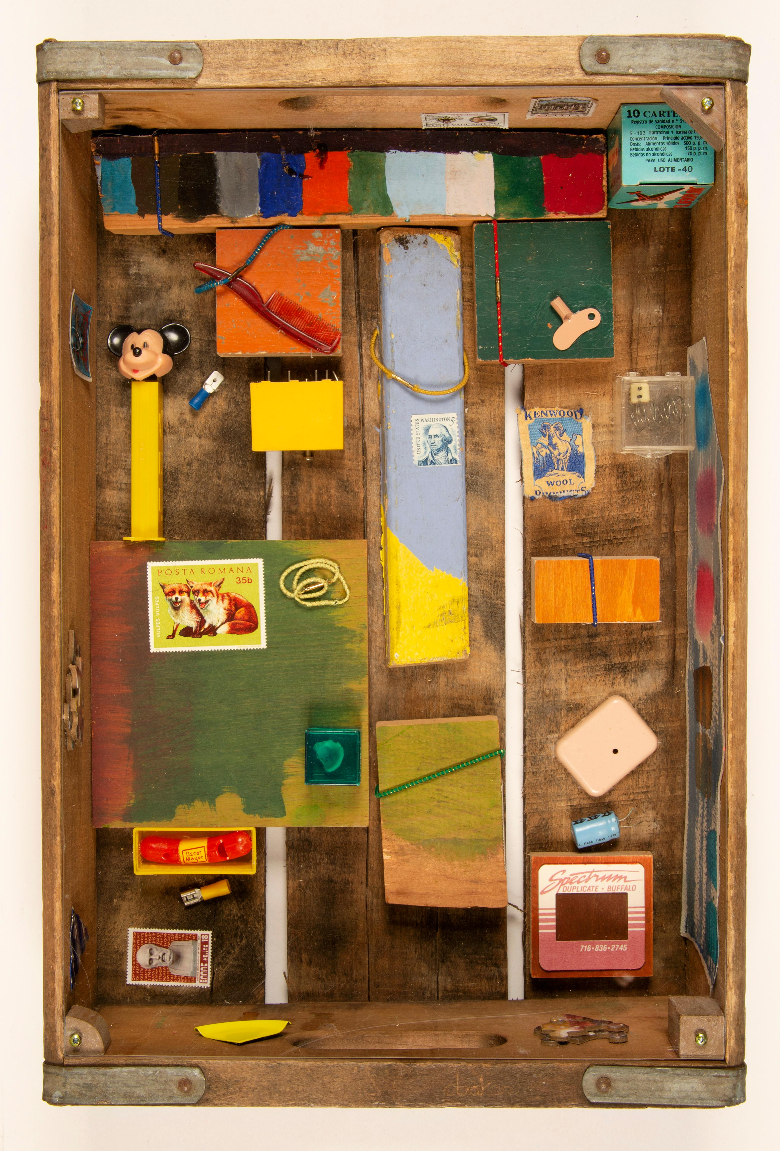 Contemporary American Assemblage Wall Sculpture Female Artist Colorful Toys