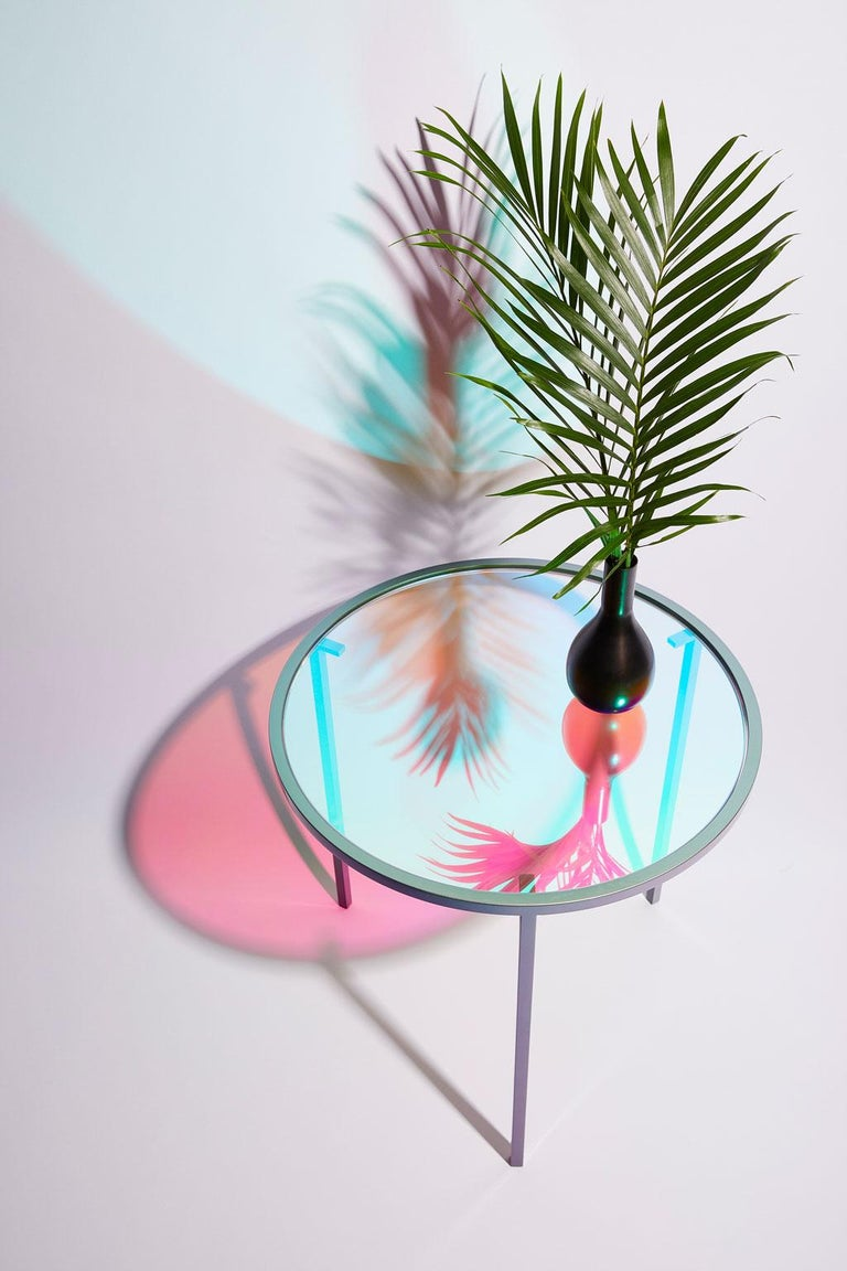 Cold-Painted Dichroic Glass and Iridescent Car Paint Psychic Table For Sale