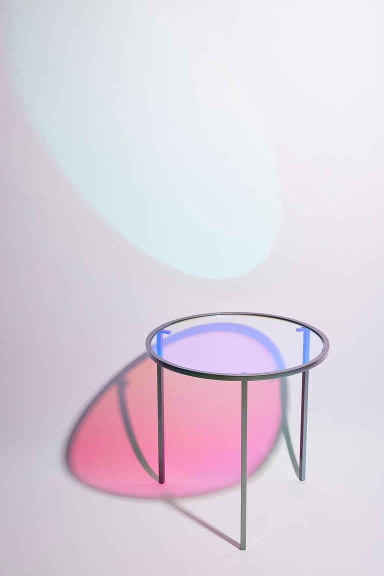 Dichroic Glass and Iridescent Car Paint Psychic Table For Sale 3
