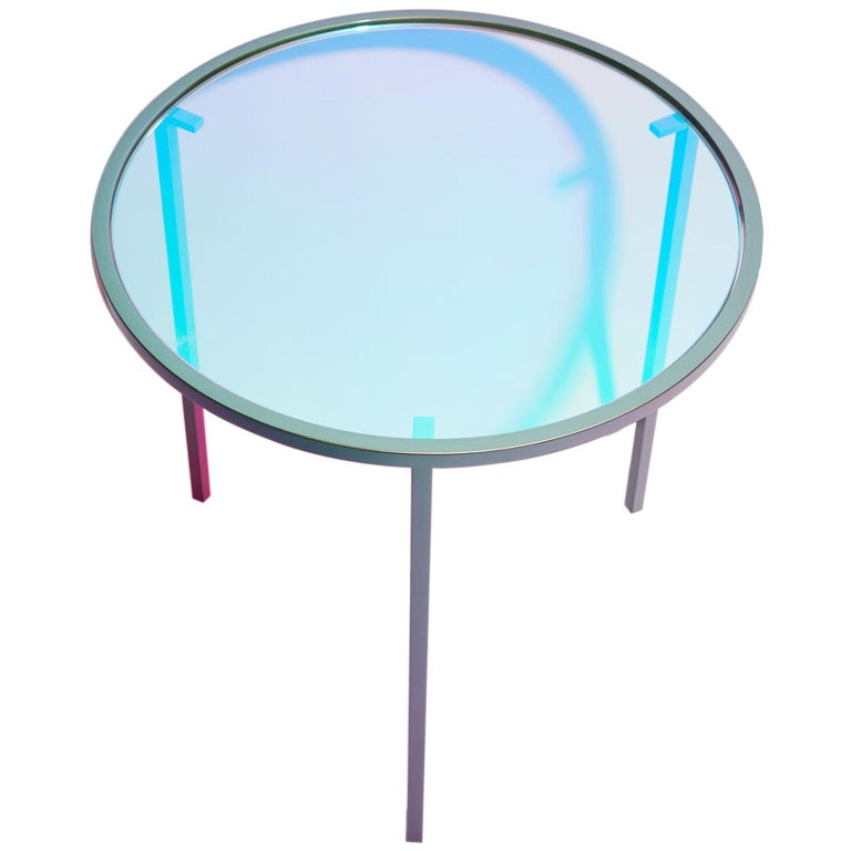 Dichroic Glass and Iridescent Car Paint Psychic Table For Sale