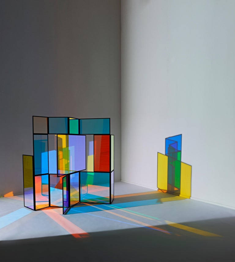 Dichroic glass colorful folding screen by Camilla Richter Folding screen 'And A And Be And Not' powder-coated steel, dichroic glass: cyan and orange 1600 x 1600 x 710 mm limited edition of 5 + 1 AP  Camilla Richter's works were published in