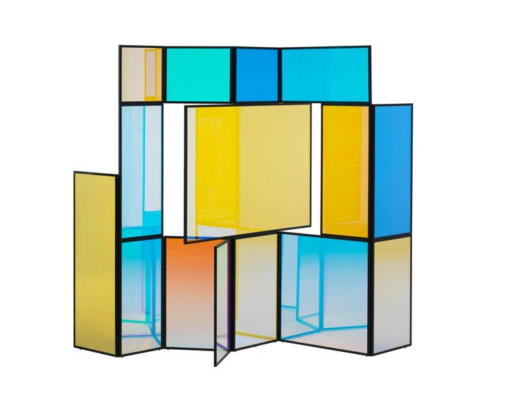 Modern Dichroic Glass Colorful Folding Screen by Camilla Richter For Sale