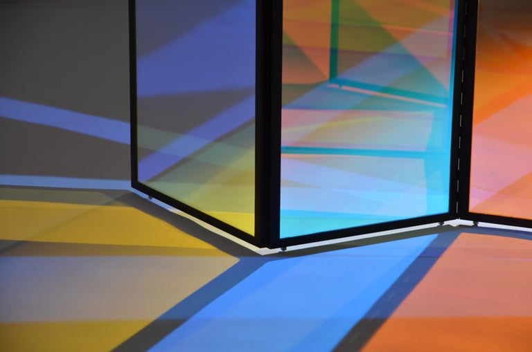 Dichroic Glass Colorful Folding Screen by Camilla Richter In New Condition For Sale In Geneve, CH