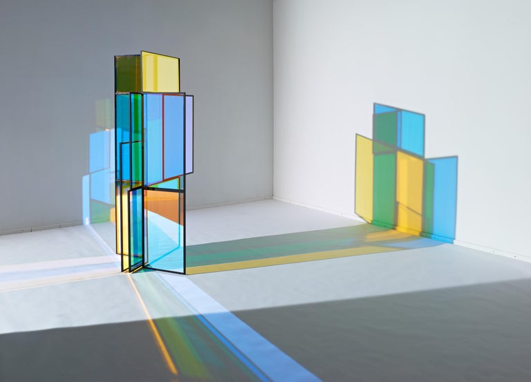 Dichroic Glass Colorful Folding Screen by Camilla Richter For Sale 1