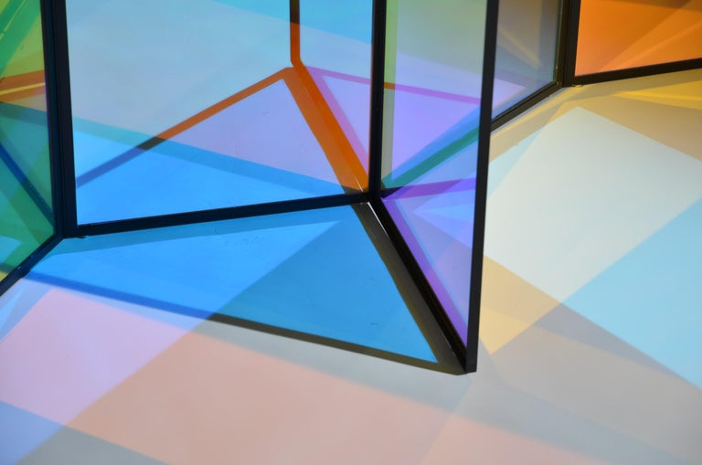 Dichroic Glass Colorful Folding Screen by Camilla Richter For Sale 2
