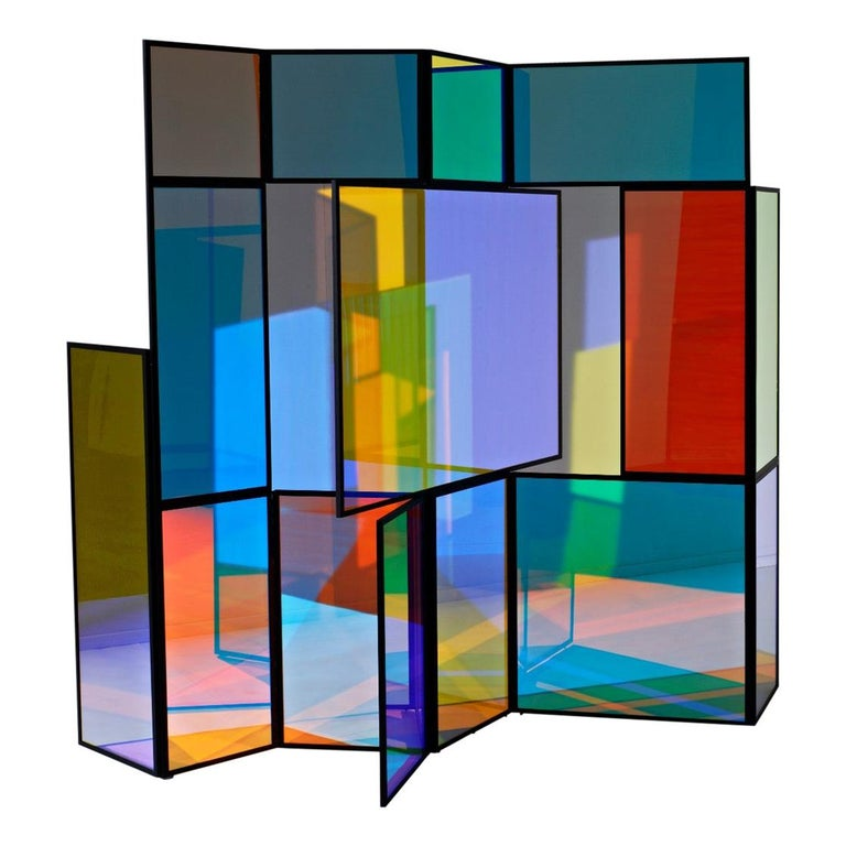 Dichroic Glass Colorful Folding Screen by Camilla Richter For Sale